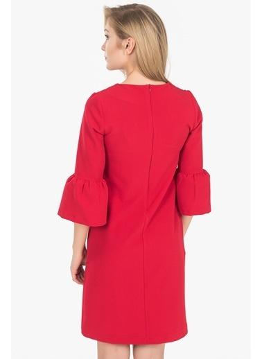 İroni İspanyol Kollu Mini Elbise Kırmızı